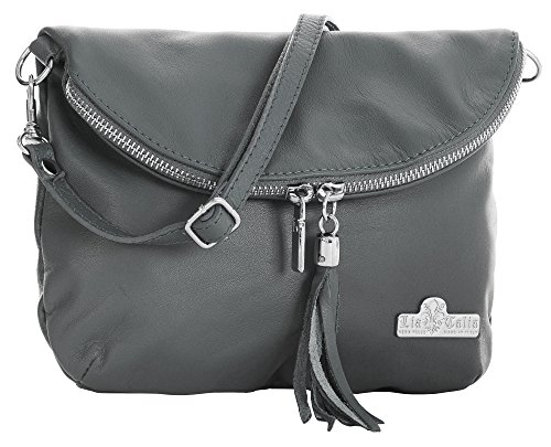 Bag Small Size Cross Soft Leather Shoulder Italian Medium Dark AMY Body LIATALIA Messenger Real Grey 4qz88FB