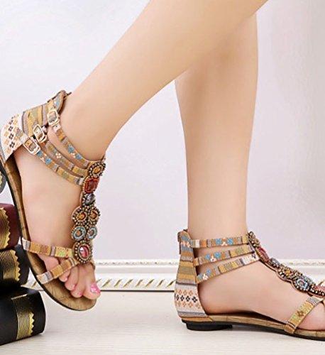 NiSeng Mujer Sandalias Planas Bohemia Adorno De Rhinestone Romanas Zapatos De Hebilla De Clip Del Dedo Del Sandals Albaricoque