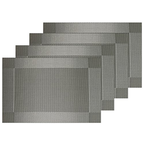 Guwheat Placemats Dining Room Table Mats Woven Vinyl Washable Waterproof Durable Heat-resistant Non-skip Kitchen PVC Placemats (4, Silver grey)