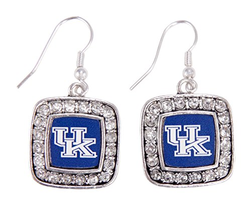 Officially Licensed University of Kentucky Wildcats Silvertone Square Crystal Studded Earrings
