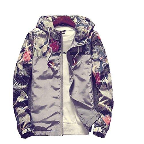 Banana Bucket Floral Bomber Jacket Men Hip Hop Slim Fit Flowers Bomber Jacket Coat Men's Hooded (Hip Hop Hoodie)