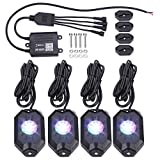 RGBW Neon Led Rock Lights, 7pcs Led Chips (Includes 1pcs Middle White Light), Mode of DIY, Music, Flash and Timer Compatible with Jeep Exterior Cars Truck ATV SUV Boat Yacht Motorcycle, 4 Pods