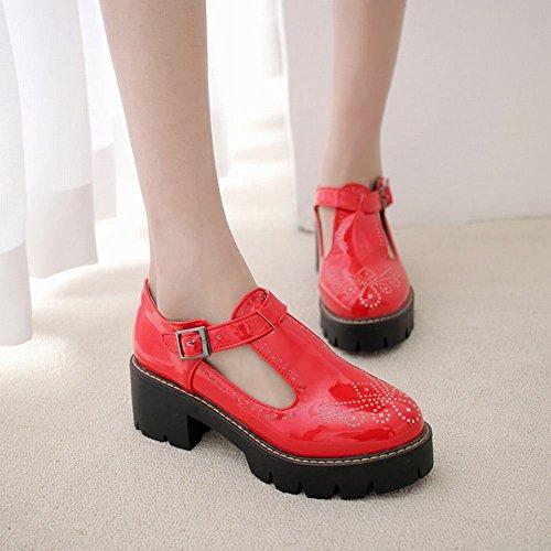 Mee Shoes Women's Charm Block Mid Heel Platform Buckle Court Shoes Red iRBVSmDi