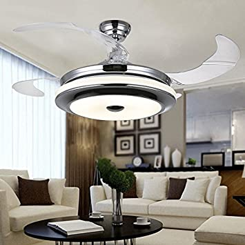 Siljoy fanaway ceiling fan with dimmable led light kit and remote siljoy fanaway ceiling fan with dimmable led light kit and remote control 4 retractable blades 42 aloadofball Image collections