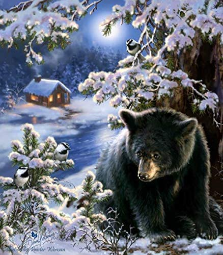 油絵 数字キット 手塗り によるDIYデジタル絵画 子供初心者-森の動物クマ 50cmX40cm (フレームレス)