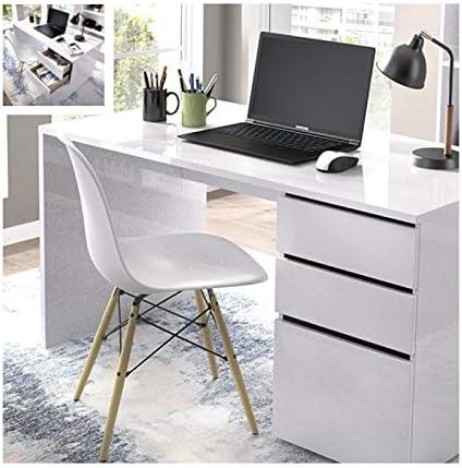 PEGANE - Mesa de Escritorio (75 x 139 x 50 cm), Color Blanco ...