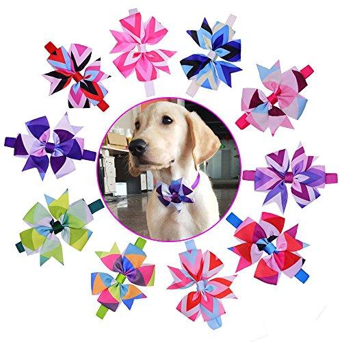 yagopet 10pcs/pack Hot Dog Bow Ties pinwheel Bowknot Patterns Cat Dog Bowties Collar Holidays Dog Ties Dog Grooming Accessories ()