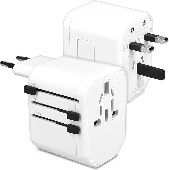 kwmobile Adaptador de Viaje Universal con 2 Puertos USB - Adaptador Internacional para enchufes de más de 150 países con Cargador USB - en Blanco: Amazon.es: Bricolaje y herramientas