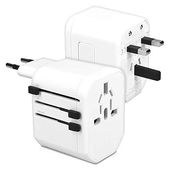 kwmobile Adaptador de Viaje Universal con 2 Puertos USB - Adaptador Internacional para enchufes de más de 150 países con Cargador USB - en Blanco