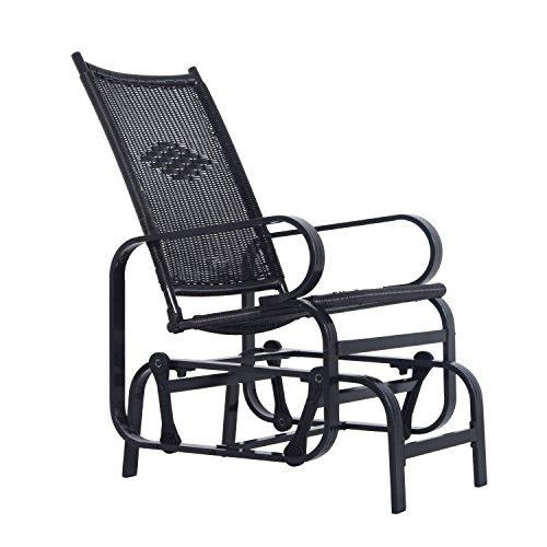Outsunny Rattan Glider Rocking Chair Single Seater Rocker Seat Garden Swing Chair Patio Furniture Wicker Aluminum Frame