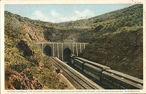 (Raton Tunnels - Highest Point on Santa Fe Railroad Railroad Scenic Original Vintage Postcard)