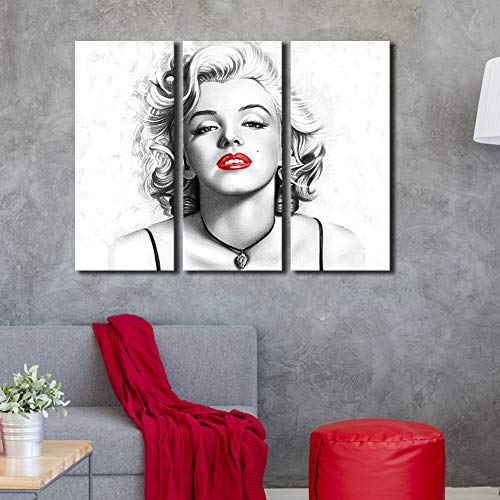 (Marilyn Monroe Wall Art Contemporary Canvas Print Sexy Red Lips Painting Black and White Modern Wall Decorative Fashion Pictures Framed 3 Pieces Ready to Hang for Living Room Home Decoration 28x36inch)