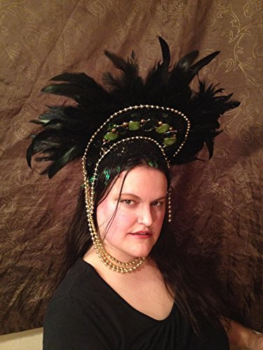 beltane headdress samba headpiece fairy tribal goddess carnival festival fantasy jewel burlesque woodland forest bride elf magic pagan wild EDM rave wear by crooked crow masks