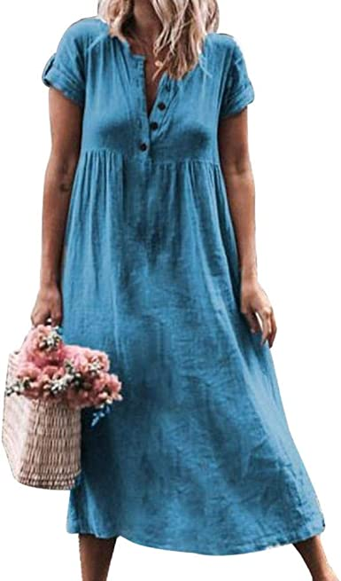 NEW WOMENS STRIPES MIDI TUNIC DRESS PLUS SIZE SHIRT BUTTONED SHIFT DRESS