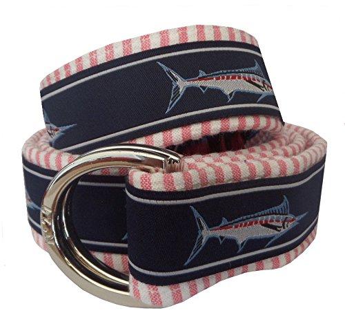 - No27 Men's Marlin Fish Seersucker Belt, Medium Marlin Fish Ribbon on Red Seersucker
