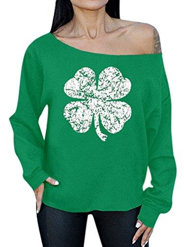 Spadehill Women's ST. Patrick's Day Cotton Long Sleeve Blouse Irish Off The Shoulder Sweatshirt Clover XL