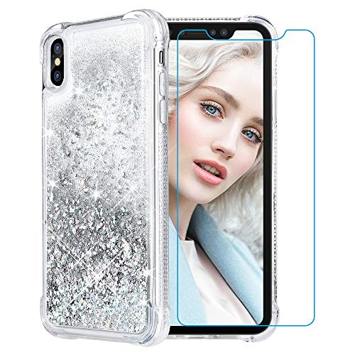 Maxdara Case for iPhone Xs Max Glitter Case 6.5 inch [Tempered Glass Screen Protector] Floating Liquid Luxury Sparkle Bling Shockproof Protective Pretty Cute Girls Women XS Max Case (Sliver)