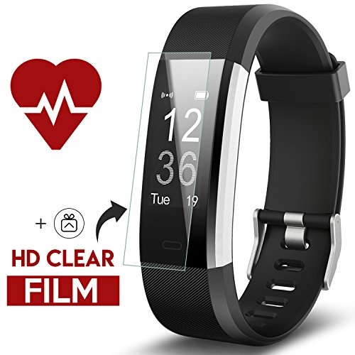 Fitness Tracker, Kinbom Heart Rate Monitor Smart Watch With Sleep Monitor, Step Counter, GPS, Message Notification, Bluetooth 4.0, IP67 Waterproof Activity Tracker for Android&iOS Smart Phone (Black) (Fitness Tracker Steps)
