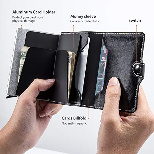LunGear Minimalist Card Case Holder with Banknote Compartment Leather Slim Security Metal Pop Up Design