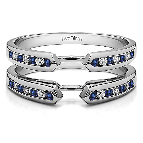(TwoBirch 0.39 ct. Diamonds G,I2+Sapphire Cathedral Ring Guard Enhancer in Silver (3/8 ct)(Size 3-15, 1/4 Sizes))