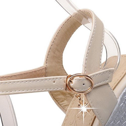 VogueZone009 Women's Soft Material Buckle Open Toe High-Heels Solid Platforms & Wedges Beige goDHqqWp