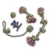 Dog Rope Toy 5pc Set MAS, EXTRA THICK Durable Quality, 100% NATURAL COTTON, Medium, Large, Extra Large Dogs, Mental Stimulation, Aggressive Chewers, Dental Hygiene, Puppy Behavioral Training Toy