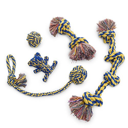 Dog Rope Toy 5pc Set MAS, EXTRA THICK Durable Quality, 100% NATURAL COTTON, Medium, Large, Extra Large Dogs, Mental Stimulation, Aggressive Chewers, Dental Hygiene, Puppy Behavioral Training Toy by Dog Rope Toy 5pc Set (Image #1)