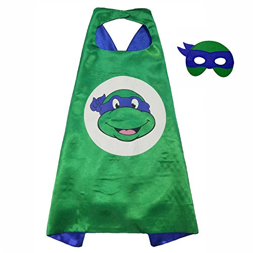 FASHION ALICE Superhero Superman CAPE & MASK SET,Halloween Costume Cloak for Child (Teenage Mutant Ninja (Blue Ninja Turtle Costume)