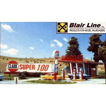 Blair Line HO Scale Kit Laser-Cut Clark Oil Gas Station (Cut Laser Line Blair Ho)