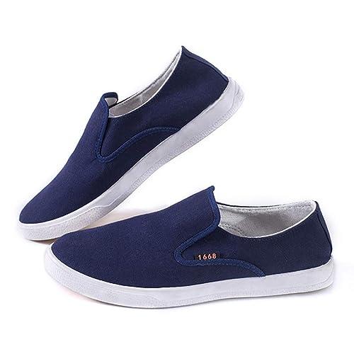 Zapatos Hombre Mocasines Calzado Plano Mocasines Zapatos Perezosos Cabeza Redonda Zapatos de Lona Zapatillas de Deporte