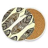 LUPINZ Boho National Feathers Coasters For Drinks Best Housewarming Beverage Drink Beer Wedding Registry Gift
