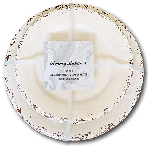 Tommy Bahama Cream White Rustic Crackle Melamine Dinner and Salad Plate (Set of 4 each) (Rustic Plates Melamine)