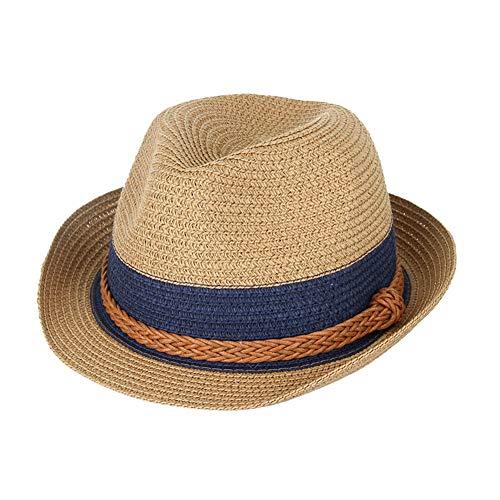 BOWINUS Summer Hats Hemp Rope Patchwork Striped Straw Sunhats for Unisex Straw Hats Beach Visor Caps Panama Hat Khaki