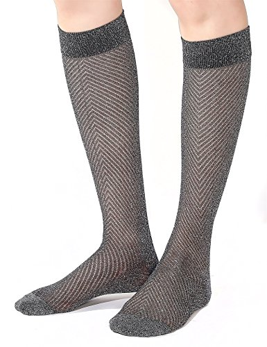 Joulli Fashion Women's Diamond Sparkle Casual Knee High Socks Black Silver(1 Pack) (High Knee Socks Silver)