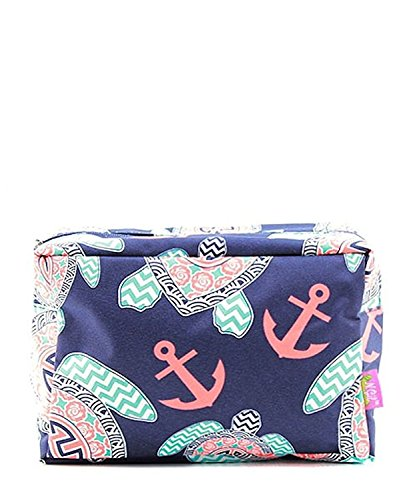 N. Gil Large Travel Cosmetic Pouch Bag (Sea Turtle Navy Blue) -