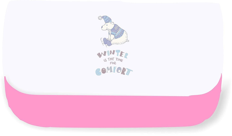 Winter Character 27 - Estuche para lápices o bolsa de mano con diseño de oso polar sentado, color rosa talla única: Amazon.es: Oficina y papelería