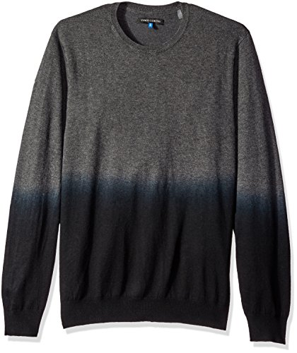 Vince Camuto Men's Dip-Dyed Crew Neck Sweater, Charcoal Fade, ()