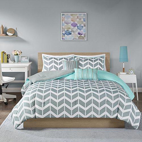 Intelligent Design Nadia Twin/Twin Xl Size Bed Comforter Set - Teal, Chevron – 4 Pieces Bedding Sets – Ultra Soft Microfiber Bedroom Comforters