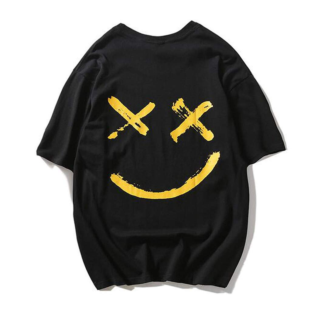 Palarn Mens Fashion Sports Shirts Unisex Casual Teens Printed Smiling Face Fashion Print Top Blouse