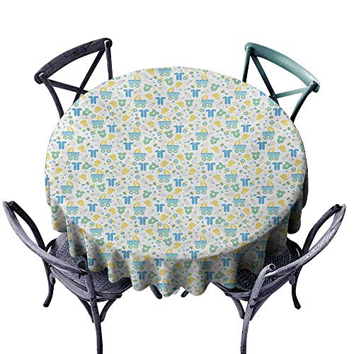 (VIVIDX Tablecloth for Kids/Childrens,Baby,Retro Newborn Items Stroller Rubber Duck Milk Bottle Pin Pyjamas Pattern,Table Cover for Home Restaurant,55 INCH,Blue Yellow Mint Green)