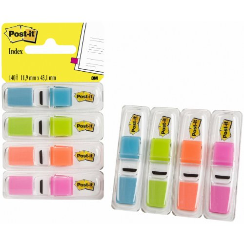 Post-it Index Small in Clear Dispenser, 140 Flags - 4 Colours x 35 per Pack by Post-it