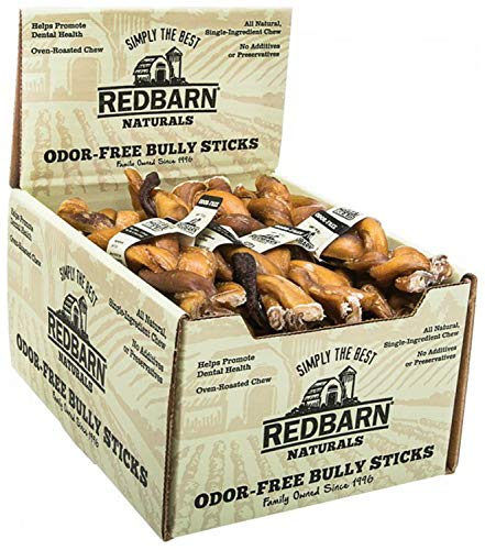 """REDBARN NATURALS 200004 Odor Free 7"""" Braided Bully Stick Pet Chew Treat (20 Case), One Size"""
