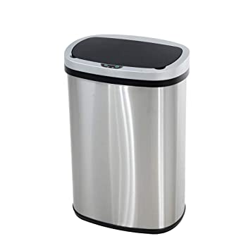 13 Gallon Touch Free Automatic Stainless Steel Trash Can Garbage Can Metal Trash Bin With Lid For Kitchen Living Room Office Bathroom Electronic Touchless Motion Sensor Automatic Closure Opening Industrial Scientific