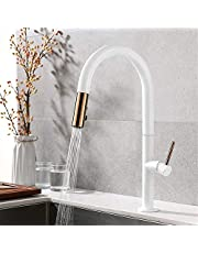 FZHLR Fashionable White Rose Gold Kitchen Faucet Pull Down Cold and Hot Mixer Water Faucet Succinct High Brass Kitchen Faucet with Spray 360 Degree Swivel