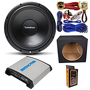 "(1) Rockford Fosgate R2D4-12 Prime DVC 4 Ohm 12"" 500W Subwoofer with 1200W Mono Amplifier w/Bass Control + Amp Kit & Single Sealed Box"