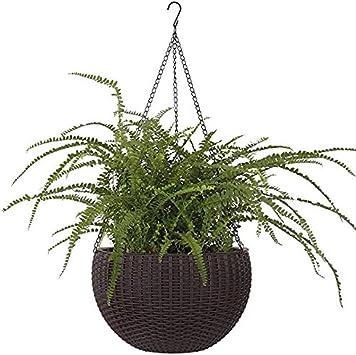 Hanging Basket Rattan Plastic Flower Pot Round Resin Garden Hanging Planter for Indoor Outdoor Plants,2 Pack Brown Small Size 6.5in x 4.5in)