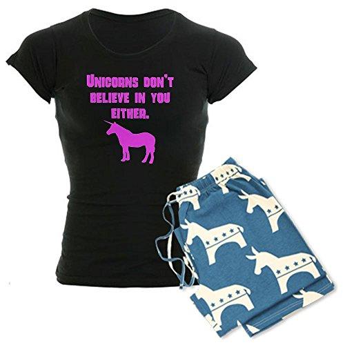 CafePress Pink Unicorns Dont Believe In You Either pajamas Women's Dark Pajamas