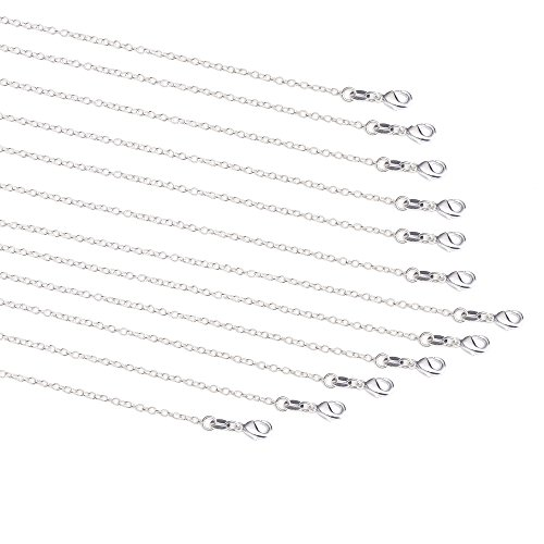 (12 Pack 1.2mm Silver Plated Chain Necklace Link Cable Chains Bulk with Lobster Clasps and 12 Jump Rings for DIY Jewelry Making (16 Inches))