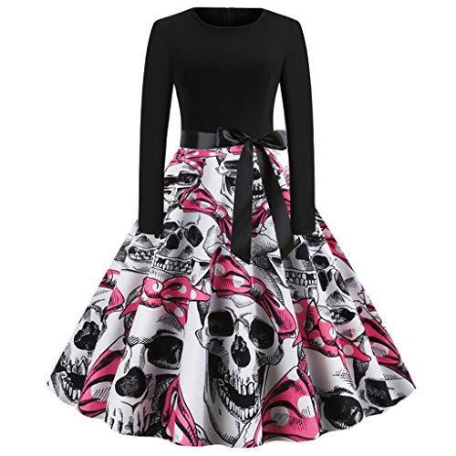 Xinantime Women Halloween Dress Long Sleeve Pumkin Ghoast Print Halloween Evening Party Prom A-line Dress Pink
