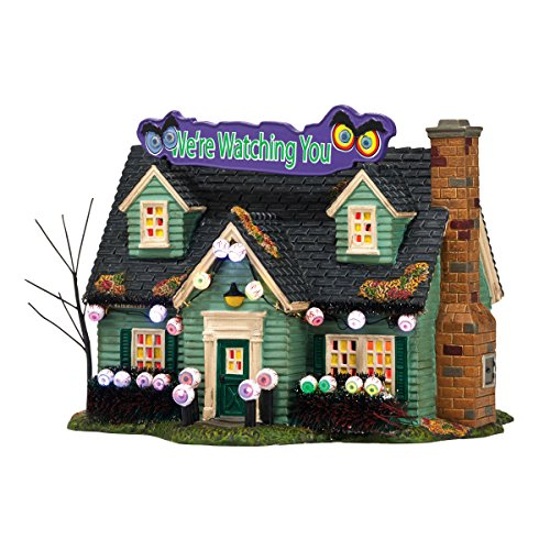 Department 56 Snow Village Halloween Glares and Stares House Lit Building, 6.3 - Glare Snow